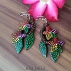 handmade earring wooden hand carving painted bali