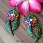 exotic hand carved wood earring painted