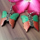 wood hand carving butterfly painted earrings