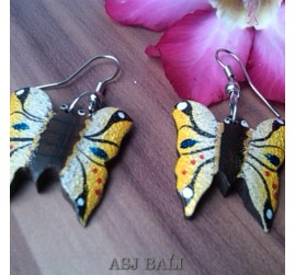 butterfly hand carving wooden earrings hand painting