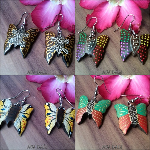 hand carving wooden earrings hand painting butterfly