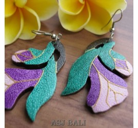 carved wooden earrings hand painting designs plant