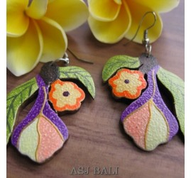 hand carved wooden earrings hand painted  floral