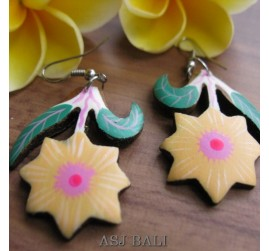 hand carving wooden earrings painting designs flower