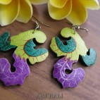 hand carving wooden earrings painting designs plant
