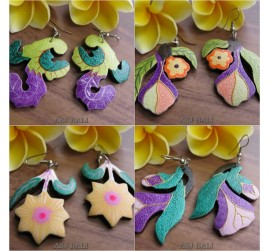 wooden earrings hand painting color designs plant