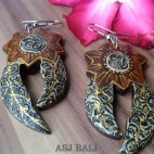 natural color ethnic designs wood carved earring