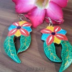 hand carved wooden earrings hand painting leaves