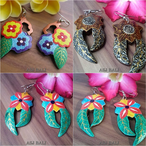 wooden earrings hand painting color leaves