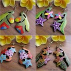 made hand carving wood earrings hand painting color