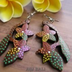 traditional hand painted wooden carved earring bali