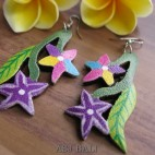 flower hand painting carving wood earrings