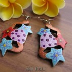 hand carving wooden earrings hand painting flower