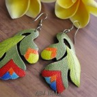 made hand carving wooden earrings hand painting