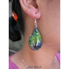 tears bali wood earrings hand painting design