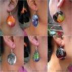 bali wood earrings hand painting design