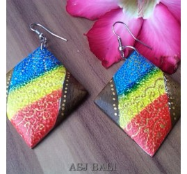 wooden earrings hand painted bali design