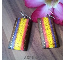 bali wood earrings hand painted design