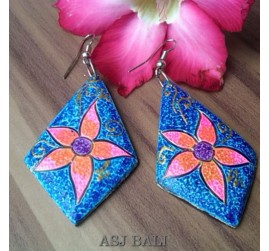 bali wooden earrings hand painted leaves design