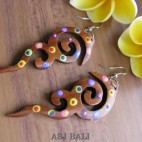 hand carving wooden earrings hand painting