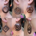 natural wooden earrings handmade organic