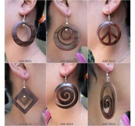 natural wooden earrings handmade organic