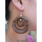 brown natural wooden earring handmade