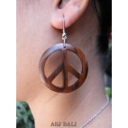peace love natural wooden earring bali
