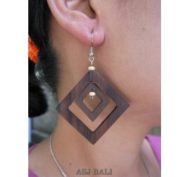 bali natural wooden earrings handmade hook