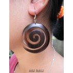 spiral organic wood handmade earring hand carving