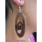 spiral natural wooden earrings handmade