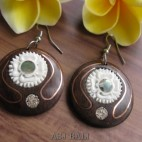 tribal natural wooden earrings hooked handmade