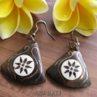 natural black wooden earrings hooked handmade