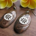 ethnic natural wooden earrings hooked hand tattoo