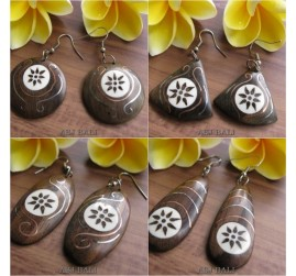 natural wooden earrings hooked hand tattoo