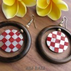 organic wooden earring with seashells handmade