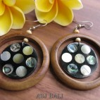 ethnic wooden earring with shells resin bali