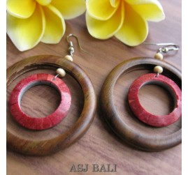 natural wooden earrings with red coral hooked
