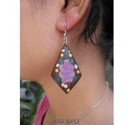 hooked earring hand painting flower wooden