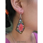 hook earring wooden hand painting bali