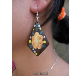 flowers hand painted earring wooden organic