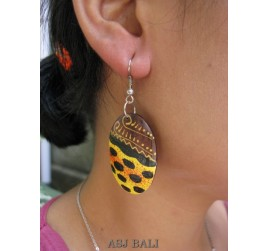 organic wood earring hooked hand painted bali