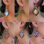 wood earring hooked hand painted bali