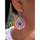 hand painted hooked wood earrings handmade
