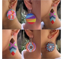wood earring hand painted bali handmade