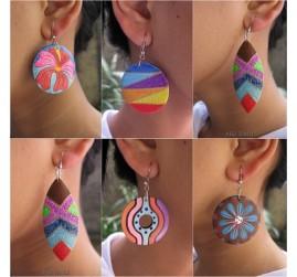 wood earring hand painted bali handmade