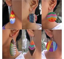 wood earrings hand painted balinese design