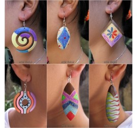 wood earrings hand painted ethnic designs bali