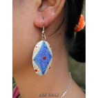 balinese wooden earrings hand painted hooked