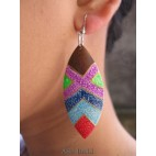 unique designs wood earring hand painted bali